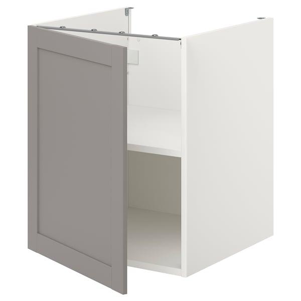 ENHET Unterschrank mit Böden/Tür, weiß/grau Rahmen, 60x62x75 cm
