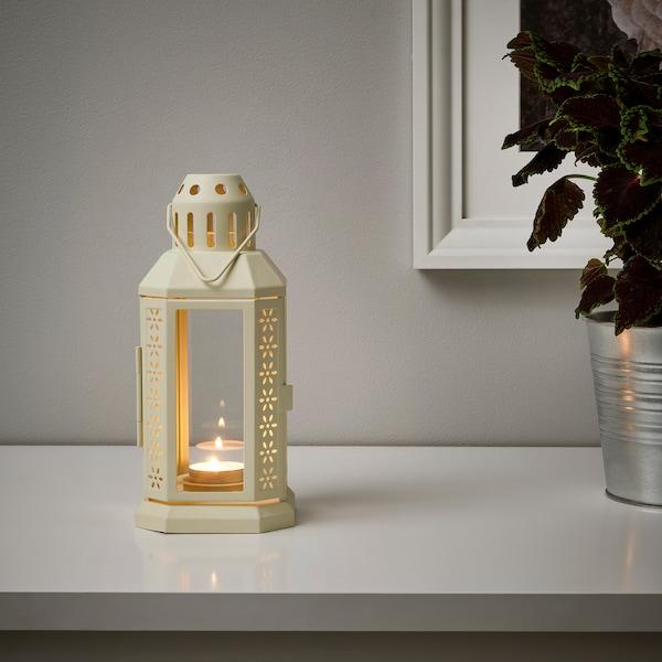 ENRUM Laterne für Teelicht innen/außen, beige, 22 cm