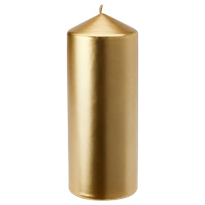 FENOMEN Blockkerze duftneutral, goldfarben, 20 cm