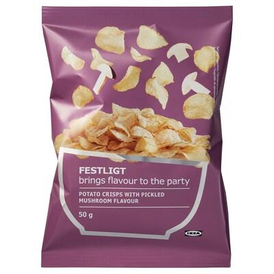 FESTLIGT Kartoffelchips, eingelegte Pilze, 50 g