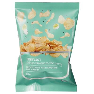 FESTLIGT Kartoffelchips, Pfeffer Lauch, 50 g