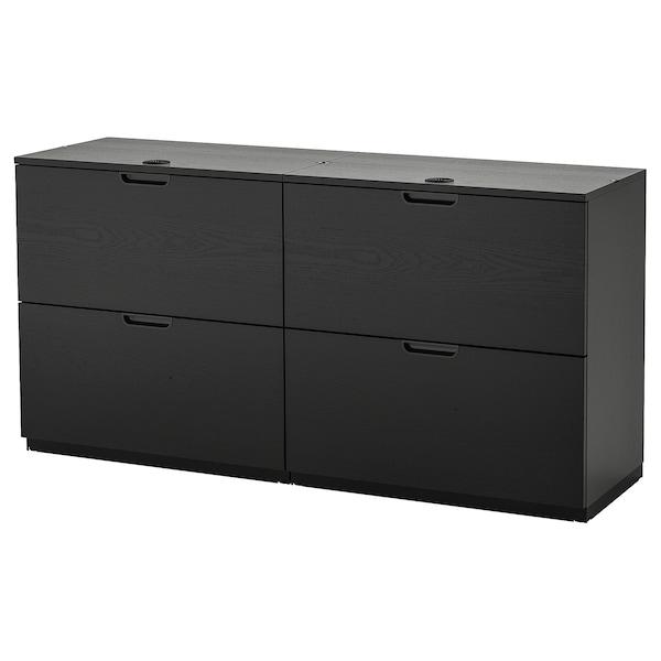 GALANT Aktenaufbewahrung, schwarz gebeiztes Eschenfurnier, 160x80 cm