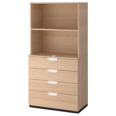 GALANT Aufbewahrung mit Schubladen, Eichenfurnier weiß lasiert, 80x160 cm