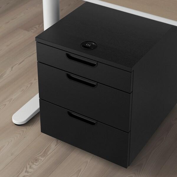 GALANT Schubladenelement auf Rollen, schwarz gebeiztes Eschenfurnier, 45x55 cm