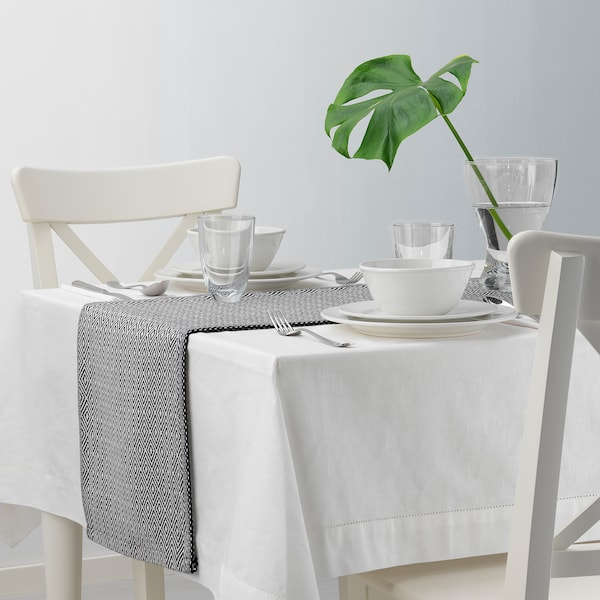 GODDAG Tischläufer schwarz/weiß 130 cm 35 cm