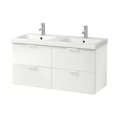 Doppelwaschbecken ikea  GODMORGON / ODENSVIK Waschbeckenschr./4 Schubl. - Eicheneffekt ...