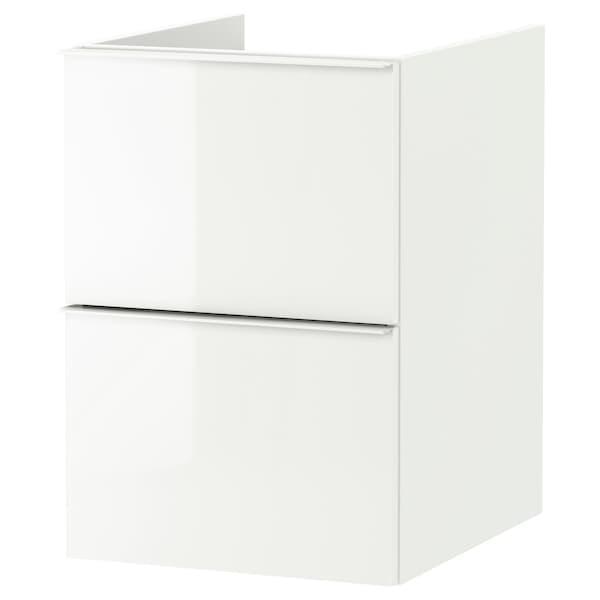 GODMORGON Waschbeckenschrank/2 Schubl., Hochglanz weiß, 40x47x58 cm