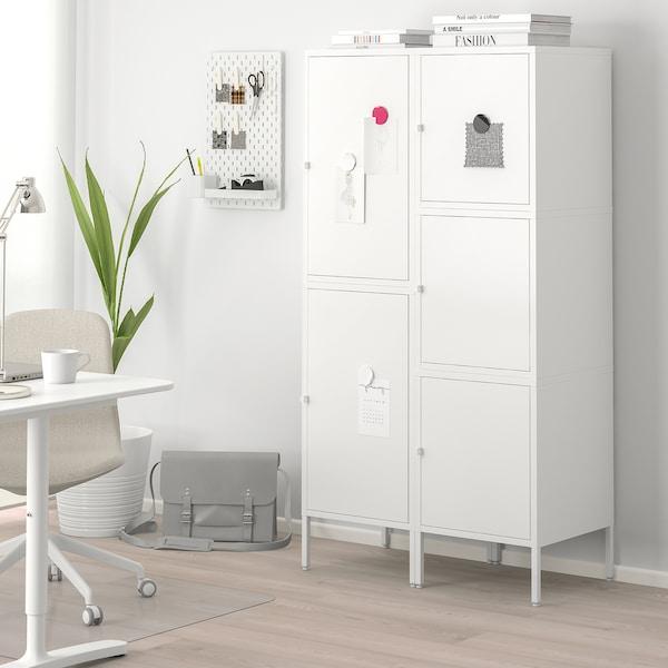 HÄLLAN Aufbewahrung mit Türen, weiß, 90x47x167 cm