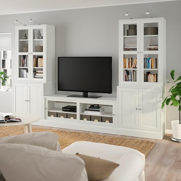 HAVSTA TV-Komb. mit Vitrinentüren, weiß, 322x47x212 cm