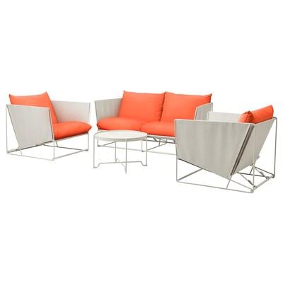 HAVSTEN 4er-Sitzgruppe innen/außen, orange/beige