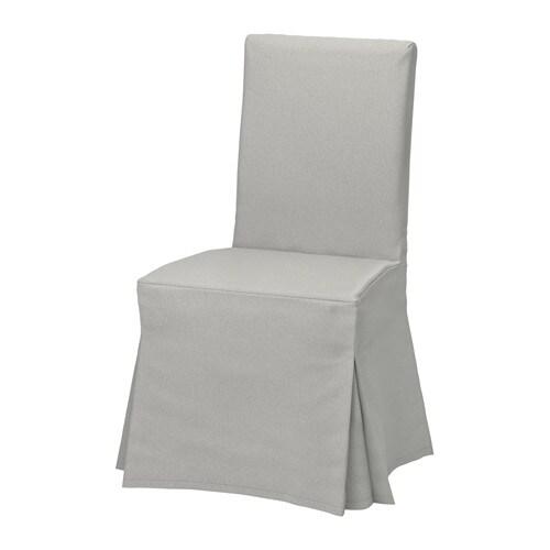 henriksdal stuhl mit langem bezug orrsta hellgrau braun ikea. Black Bedroom Furniture Sets. Home Design Ideas
