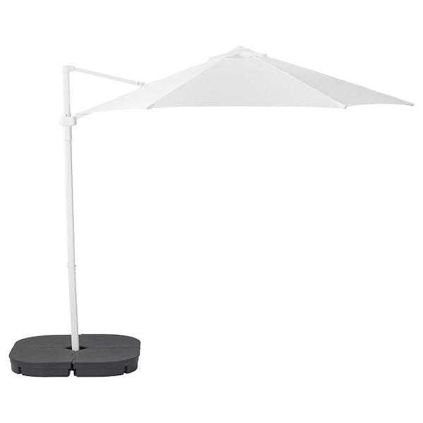 HÖGÖN Hängesonnenschirm mit Fuß, weiß/Svartö dunkelgrau, 270 cm