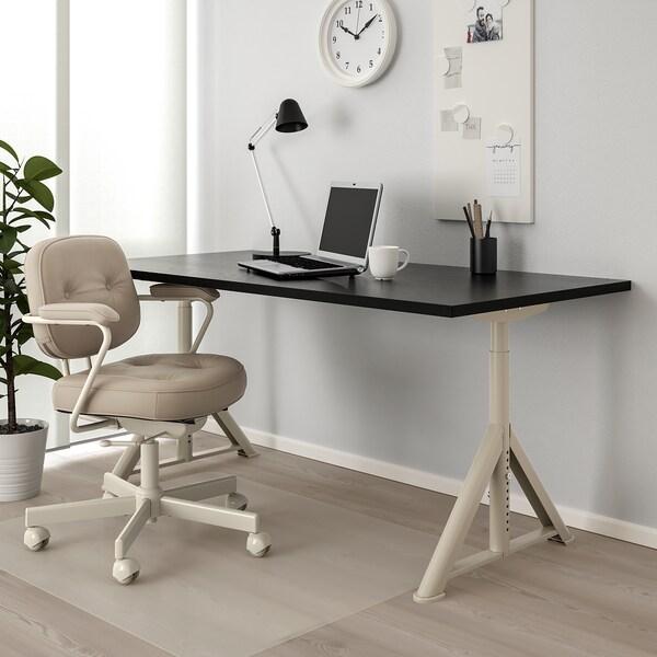 IDÅSEN Schreibtisch, schwarz/beige, 160x80 cm