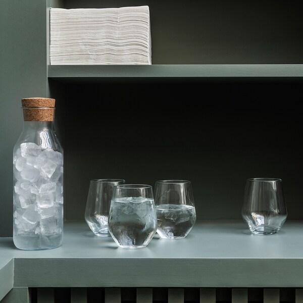 IKEA 365+ Karaffe mit Stöpsel Klarglas/Kork 27 cm 1 l