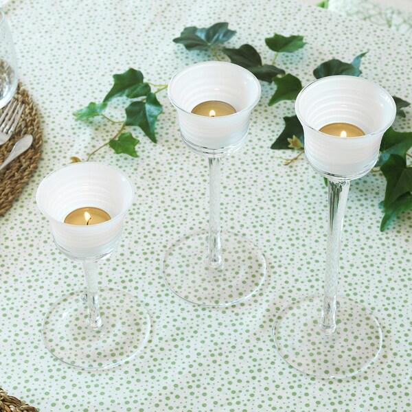 INBJUDEN Teelichthalter 3er-Set, Klarglas/Glas weiß