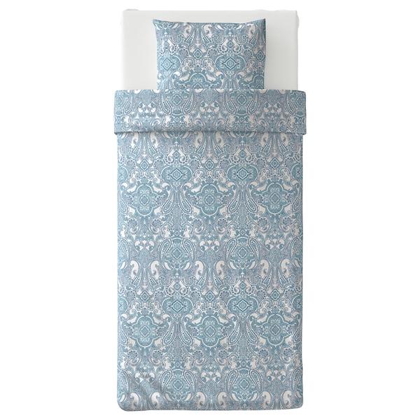 JÄTTEVALLMO Bettwäscheset, 2-teilig, weiß/blau, 150x200/50x60 cm