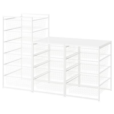 JONAXEL Rahmen/Drahtkörbe/Deckplatte, weiß, 148x51x104 cm