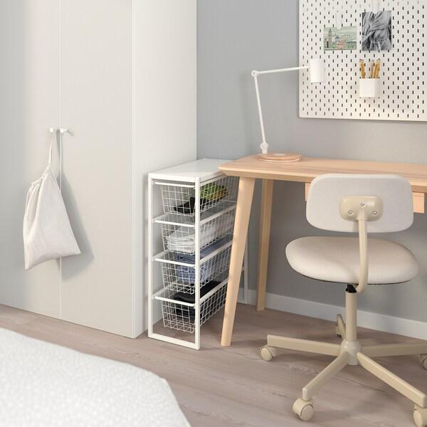 JONAXEL Rahmen/Drahtkörbe/Deckplatte, weiß, 25x51x70 cm