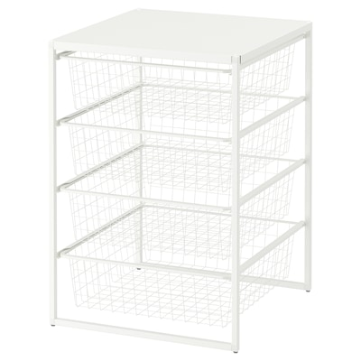 JONAXEL Rahmen/Drahtkörbe/Deckplatte, weiß, 50x51x70 cm