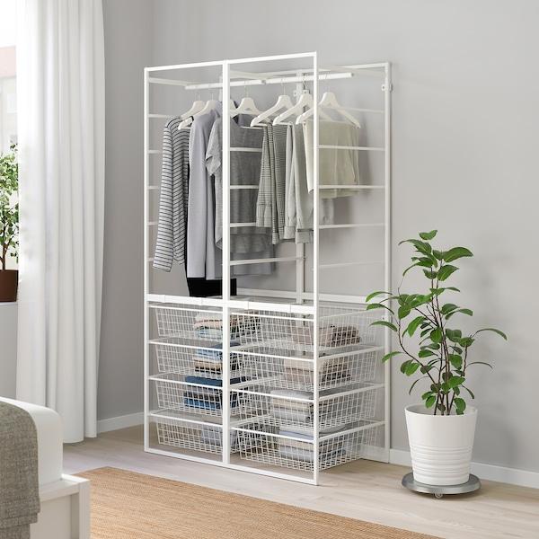 JONAXEL Rahmen/Drahtkörbe/Kleiderstangen, weiß, 99x51x173 cm