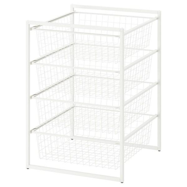 JONAXEL Rahmen mit Drahtkörben, weiß, 50x51x70 cm