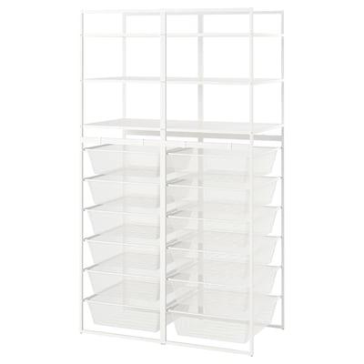 JONAXEL Rahmen/Netzdrahtkörbe/Böden, weiß, 99x51x173 cm