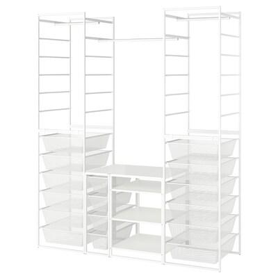JONAXEL Rahmen/Netzdrahtkörbe/Kleidersta/Bö, weiß, 173x51x207 cm