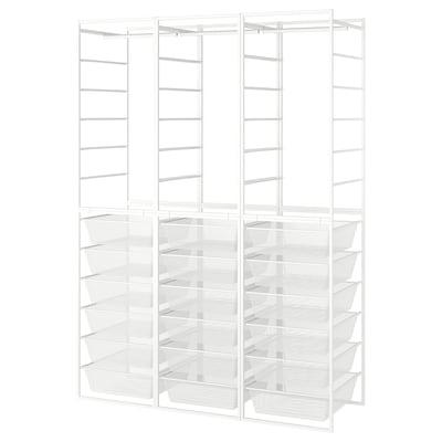 JONAXEL Rahmen/Netzdrkörbe/Kleiderstangen, weiß, 148x51x207 cm