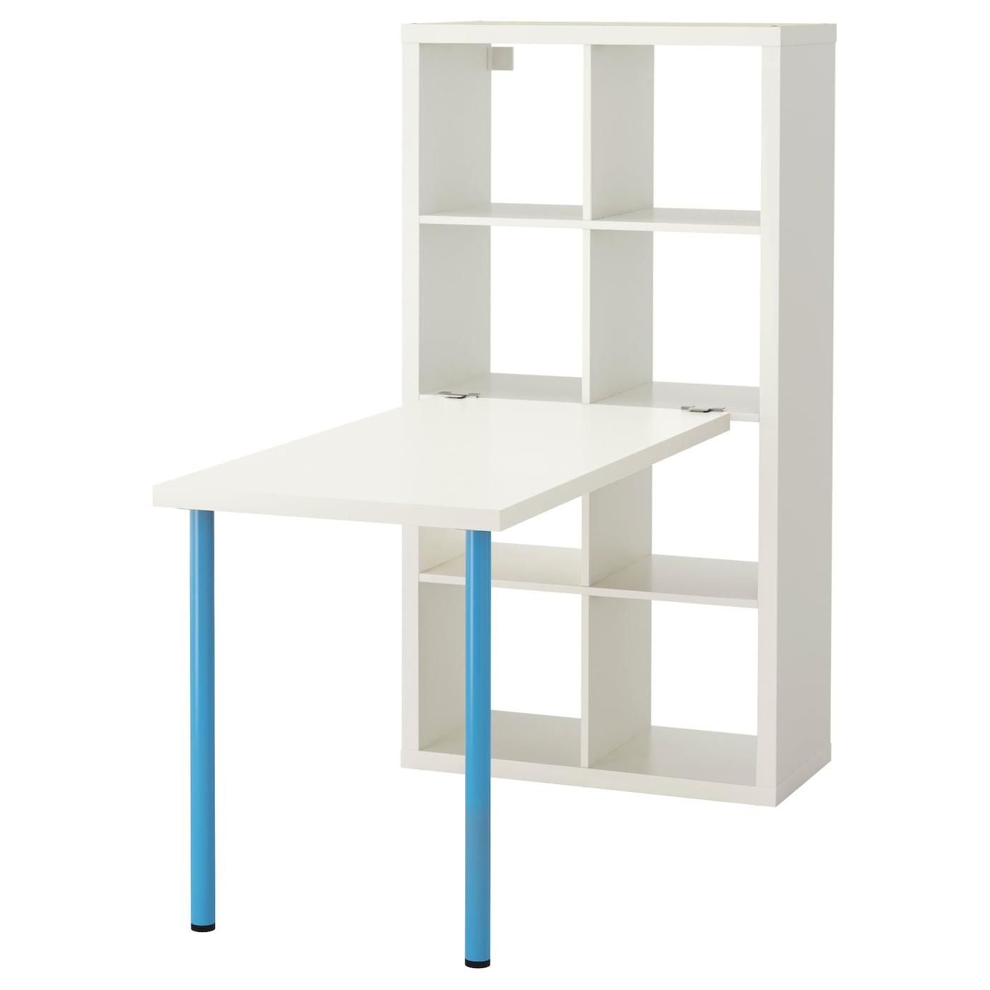 KALLAX Schreibtischkombination - weiß, blau - IKEA Schweiz