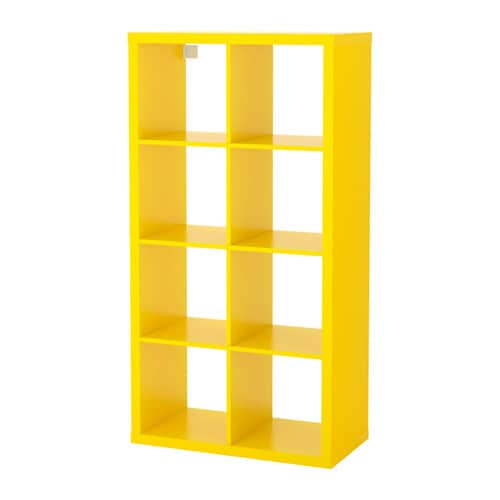 ikea wohnzimmer regal:Yellow Kallax Shelving Unit