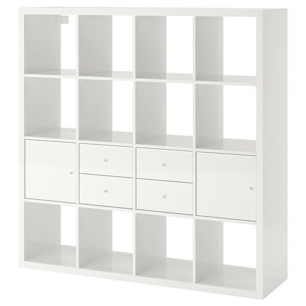 KALLAX Regal mit 4 Einsätzen, Hochglanz/weiß, 147x147 cm