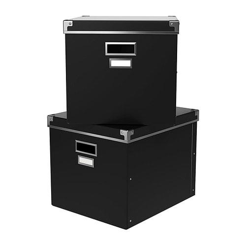 KASSETT Box mit Deckel IKEA Für Zeitungen, Zeitschriften, Fotos usw. Mit Etiketten und -halter; für einfaches Markieren und schnelles Wiederfinden.