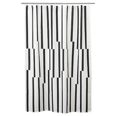 KINNEN Duschvorhang, weiß/schwarz, 180x200 cm