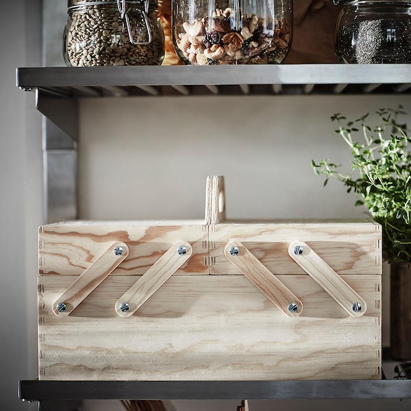 KLÄMMEMACKA Schreibutensilienfach, naturfarben Sperrholz, 35x22 cm