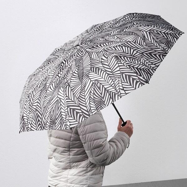 KNALLA Regenschirm, faltbar weiß/schwarz