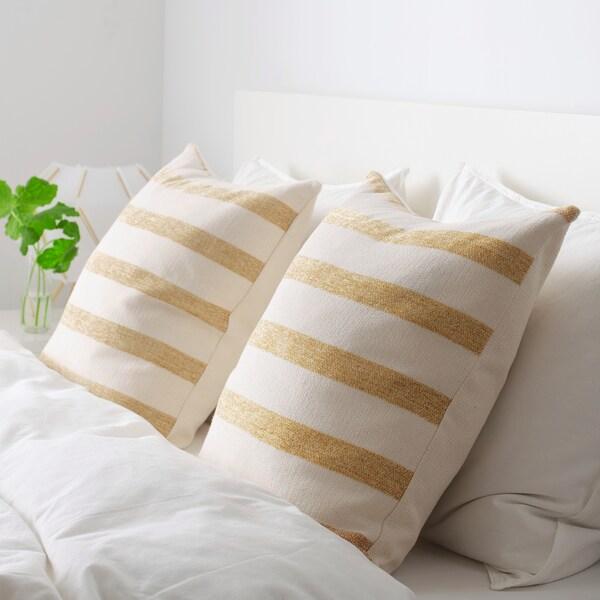 KNIPPARV Kissen, natur goldgelb/gestreift, 50x50 cm