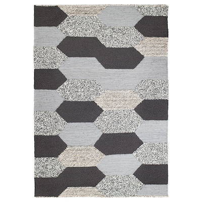 KOLLUND Teppich flach gewebt Handarbeit grau 240 cm 170 cm 4.08 m² 2890 g/m² 2490 g/m²
