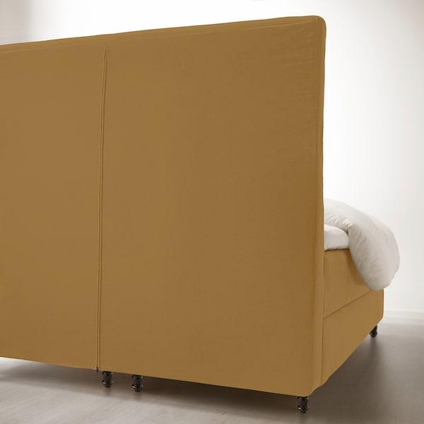 KONGSFJORD Boxspringbett, Hyllestad fest/Tustna Djuparp gelb-beige, 180x200 cm