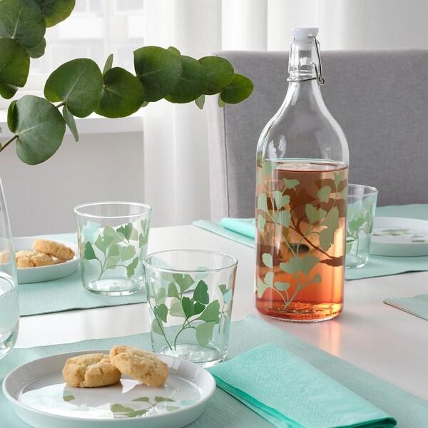 KORKEN Flasche mit Verschluss, Glas/bedruckt, 1 l