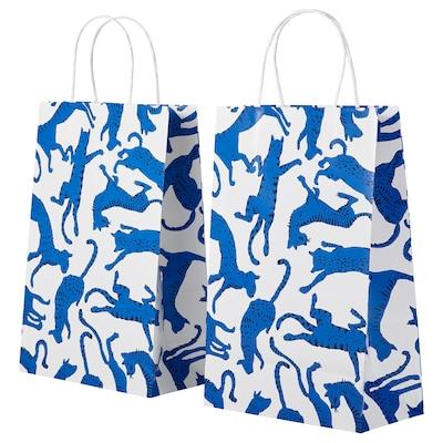 KORVÖRE Geschenktüte, blau Tiger, 20x30 cm
