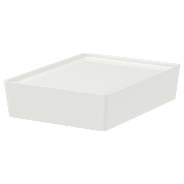KUGGIS Box mit Deckel, weiß, 26x35x8 cm