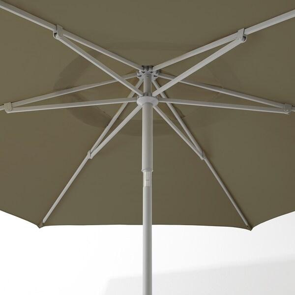 KUGGÖ / LINDÖJA Sonnenschirm mit Ständer, beigegrün/Grytö dunkelgrau, 300 cm