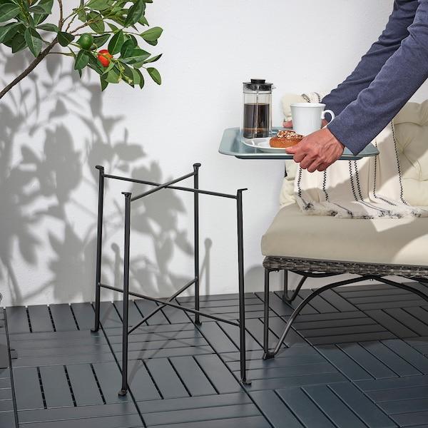 KUNGSHATT Tabletttisch innen/außen, dunkelgrau/grau, 56x36 cm