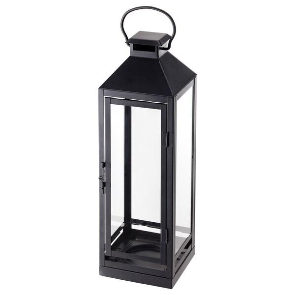 LAGRAD Laterne für Blockkerze innen/außen schwarz 13 cm 43 cm