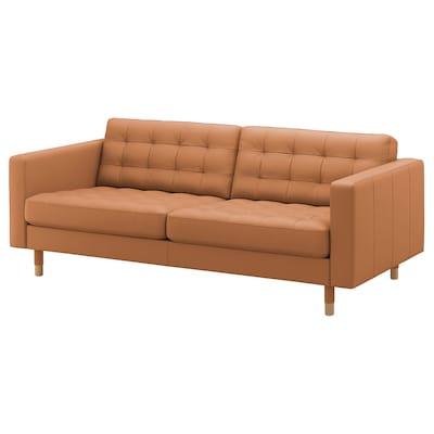 LANDSKRONA 3er-Sofa, Grann/Bomstad goldbraun/Holz