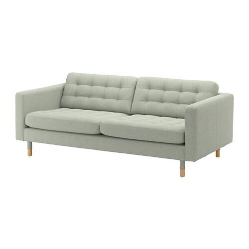landskrona 3er sofa gunnared hellgr n holz ikea. Black Bedroom Furniture Sets. Home Design Ideas