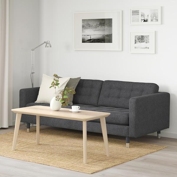 LANDSKRONA 3er-Sofa Gunnared dunkelgrau/Metall 204 cm 89 cm 78 cm 64 cm 180 cm 61 cm 44 cm