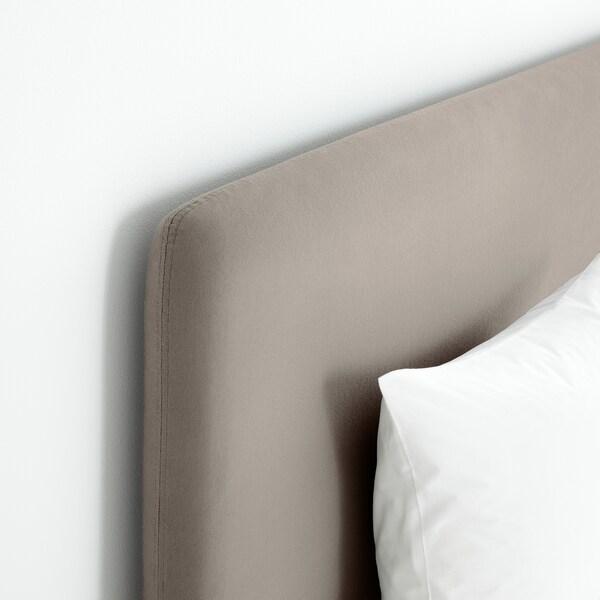 LAUVIK Boxbett, Hamarvik fest/Tuddal dunkelbeige, 140x200 cm