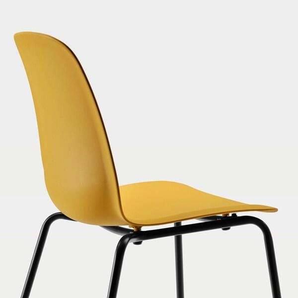 LEIFARNE Stuhl, dunkelgelb/Broringe schwarz