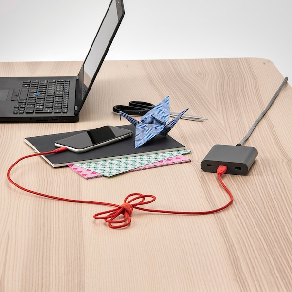 LILLHULT USB Typ A auf Lightning-Kabel, textil/orange, 1.50 m